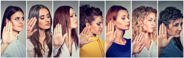 Stopping Negative Self Talk women with their right hand palm up indicating to stop