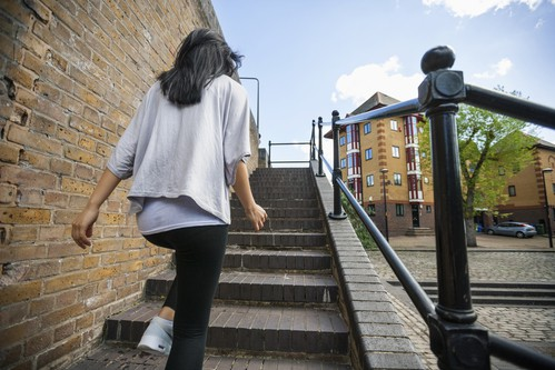 walking up steps to reduce stress